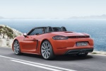 2018 Porsche 718 Boxster S in Lava Orange - Driving Rear Left Three-quarter View