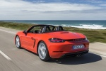 2018 Porsche 718 Boxster S in Lava Orange - Driving Rear Left View