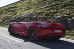 2018 Porsche 718 Boxster GTS in Carmine Red - Driving Rear Left Three-quarter View