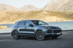 Picture of a 2019 Porsche Cayenne S AWD in Biscay Blue Metallic from a front right three-quarter perspective