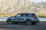 Picture of a 2019 Porsche Cayenne S AWD in Biscay Blue Metallic from a rear left three-quarter perspective