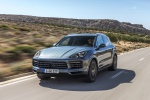Picture of a driving 2019 Porsche Cayenne S AWD in Biscay Blue Metallic from a front left perspective