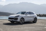 Picture of a 2019 Porsche Cayenne Turbo AWD in White from a front left three-quarter perspective