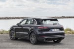 Picture of a 2019 Porsche Cayenne e-Hybrid AWD in Moonlight Blue Metallic from a rear left three-quarter perspective