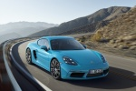 2018 Porsche 718 Cayman S in Miami Blue - Driving Front Right View