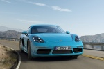 2018 Porsche 718 Cayman S in Miami Blue - Driving Frontal View