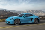 2018 Porsche 718 Cayman S in Miami Blue - Driving Front Left Three-quarter View