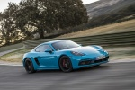 2018 Porsche 718 Cayman GTS in Miami Blue - Driving Front Right Three-quarter View