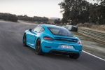 2018 Porsche 718 Cayman GTS in Miami Blue - Driving Rear Left View