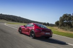 2018 Porsche 718 Cayman GTS in Carmine Red - Driving Rear Left Three-quarter View