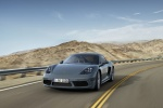 2018 Porsche 718 Cayman in Graphite Blue Metallic - Driving Front Left View