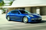 2013 Porsche Panamera S Hybrid in Aqua Blue Metallic - Driving Front Right Three-quarter View