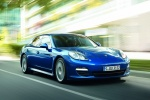 2013 Porsche Panamera S Hybrid in Aqua Blue Metallic - Driving Front Right View