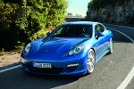 2013 Porsche Panamera S Hybrid in Aqua Blue Metallic - Driving Front Left View