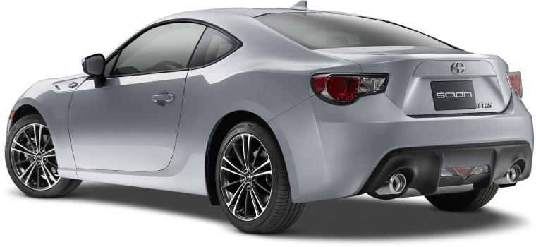 2016 Scion FR-S Coupe in Halo from a rear left three-quarter view