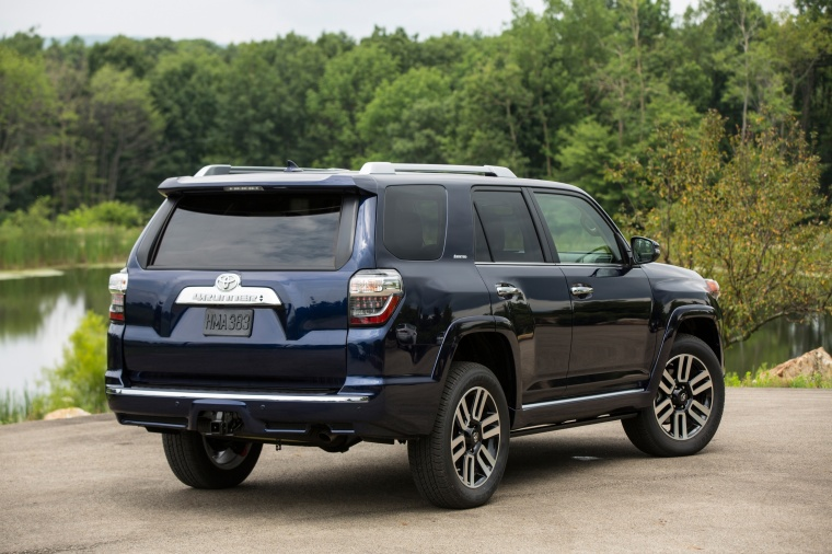 Picture of a 2017 Toyota 4Runner Limited in Nautical Blue Pearl from a rear right perspective