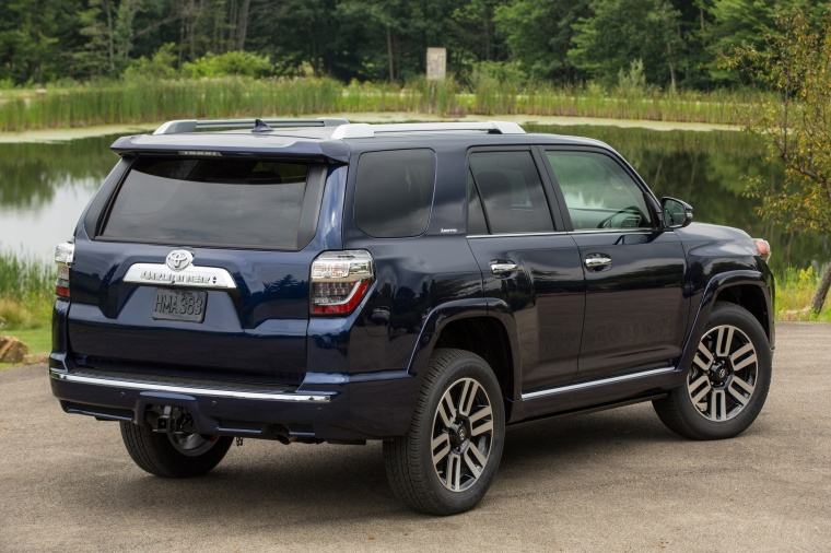 Picture of a 2017 Toyota 4Runner Limited in Nautical Blue Pearl from a rear right three-quarter perspective