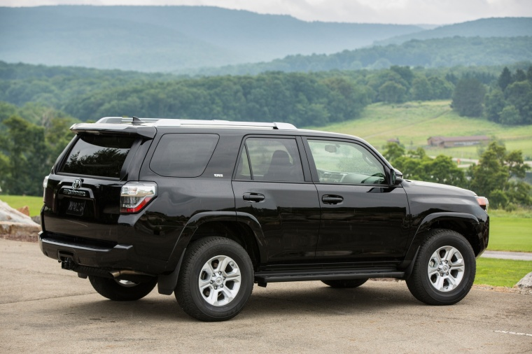 2018 Toyota 4Runner SR5 in Midnight Black Metallic from a rear right three-quarter view