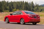 2012 Toyota Camry SE in Barcelona Red Metallic - Driving Rear Left View