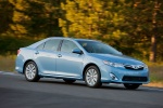 2012 Toyota Camry Hybrid XLE in Clearwater Blue Metallic - Driving Front Right View
