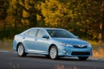 2012 Toyota Camry Hybrid XLE in Clearwater Blue Metallic - Driving Front Three-quarter View