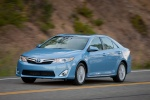 2012 Toyota Camry Hybrid XLE in Clearwater Blue Metallic - Driving Front Left View