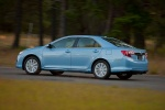 2012 Toyota Camry Hybrid XLE in Clearwater Blue Metallic - Driving Rear Left View