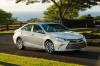 Driving 2017 Toyota Camry SE in Celestial Silver Metallic from a front right three-quarter view