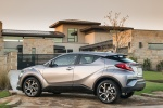 Picture of a 2018 Toyota C-HR in Silver Knockout Metallic from a rear left three-quarter perspective