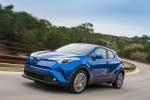 Picture of a driving 2018 Toyota C-HR in Blue Eclipse Metallic from a front left perspective