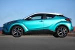 Picture of a 2018 Toyota C-HR in Radiant Green Mica from a side perspective