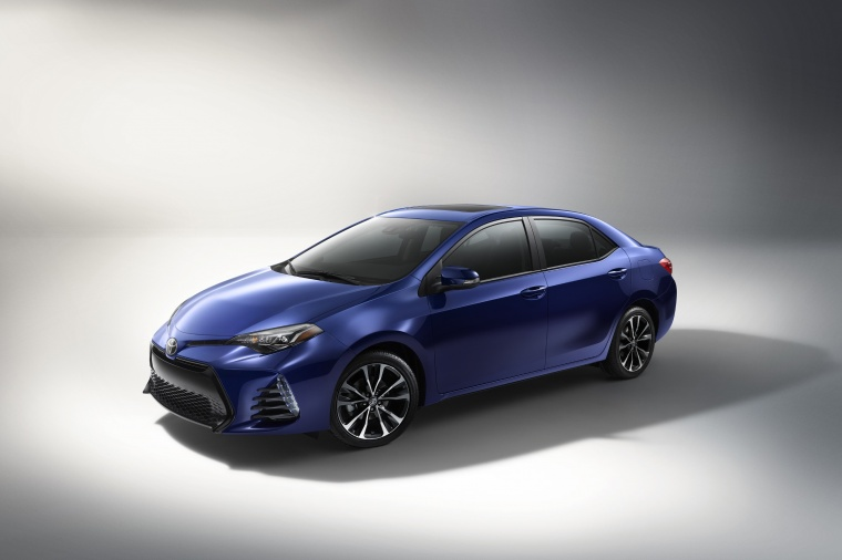 2017 Toyota Corolla XSE in Blue Crush Metallic from a front left three-quarter view