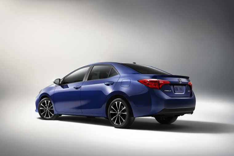 2017 Toyota Corolla XSE in Blue Crush Metallic from a rear left three-quarter view