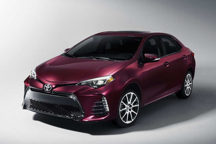 2017 Toyota Corolla 50th Anniversary Special Edition in Black Cherry Pearl from a front left view