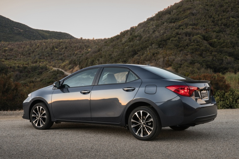 2017 Toyota Corolla XSE in Falcon Gray Metallic from a rear left three-quarter view