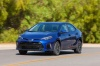 Driving 2017 Toyota Corolla SE in Blue Crush Metallic from a front left view