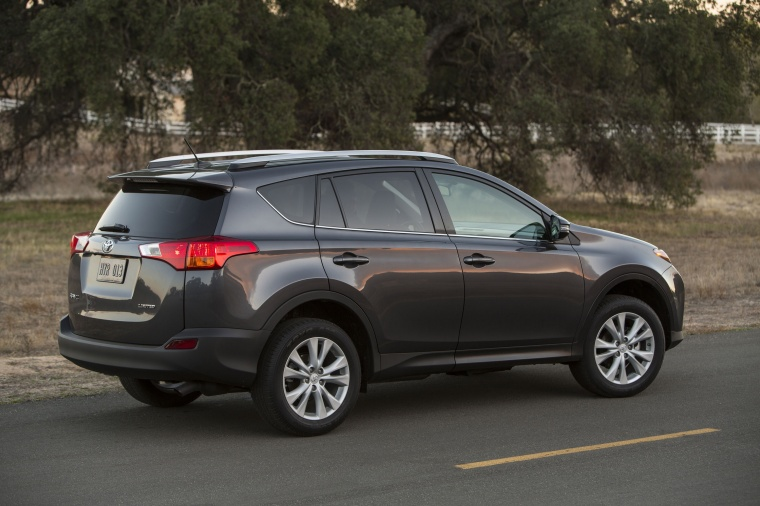 Picture of a 2014 Toyota RAV4 Limited in Magnetic Gray Pearl from a rear right three-quarter perspective