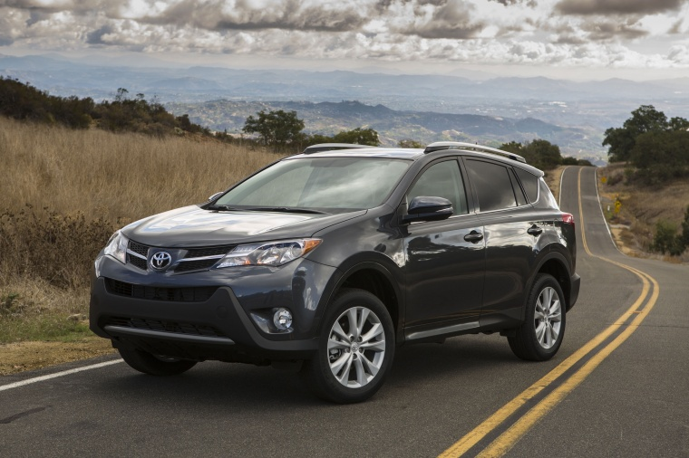 Picture of a 2014 Toyota RAV4 Limited in Magnetic Gray Pearl from a front left three-quarter perspective