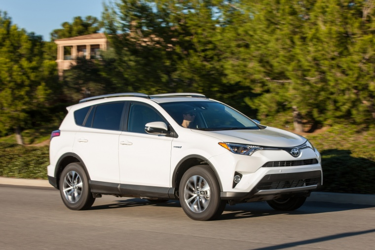 2016 Toyota Rav4 Hybrid Xle Awd Driving Front Right Three Quarter View Picture