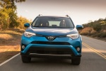 Picture of a driving 2017 Toyota RAV4 Hybrid Limited AWD in Electric Storm Blue from a frontal perspective