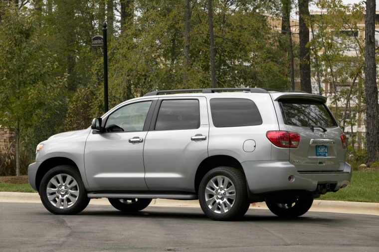 2012 toyota sequoia in silver sky metallic color static rear left view picture image. Black Bedroom Furniture Sets. Home Design Ideas