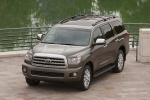 Picture of a 2016 Toyota Sequoia in Pyrite Mica from a front left three-quarter top perspective