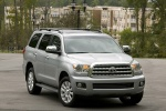 Picture of a 2016 Toyota Sequoia in Silver Sky Metallic from a front right three-quarter perspective
