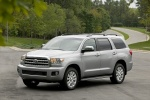 Picture of a 2016 Toyota Sequoia in Silver Sky Metallic from a front left three-quarter perspective