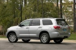 Picture of a 2016 Toyota Sequoia in Silver Sky Metallic from a rear left perspective