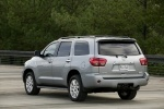 Picture of a 2016 Toyota Sequoia in Silver Sky Metallic from a rear left three-quarter perspective