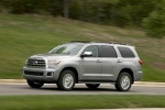 Picture of a driving 2016 Toyota Sequoia in Silver Sky Metallic from a front left three-quarter perspective