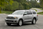 Picture of a 2017 Toyota Sequoia in Silver Sky Metallic from a front left three-quarter perspective