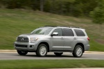 Picture of a driving 2017 Toyota Sequoia in Silver Sky Metallic from a front left three-quarter perspective