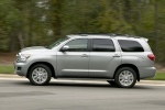 Picture of a driving 2017 Toyota Sequoia in Silver Sky Metallic from a left side perspective